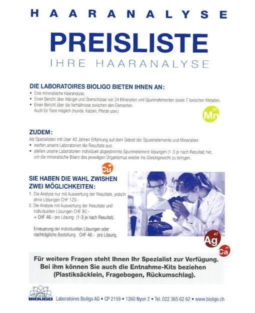 Preisliste Haaranalyse Laboratoires Bioligo