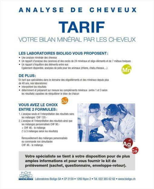Analyse de cheveux Tarif Laboratoires Bioligo