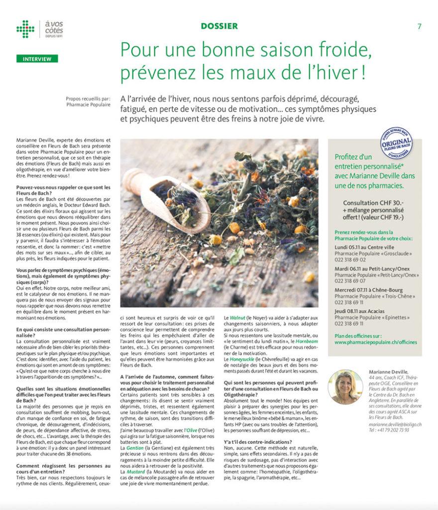 Les Fleurs de Bach pour prévenir l'hiver Interview Marianne Deville par Pharmacie populaire