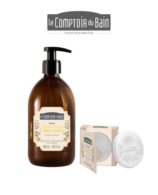 Savon liquide & Savon pain Camomille-Marjolaine Comptoir du Bain Laboratoires Bioligo