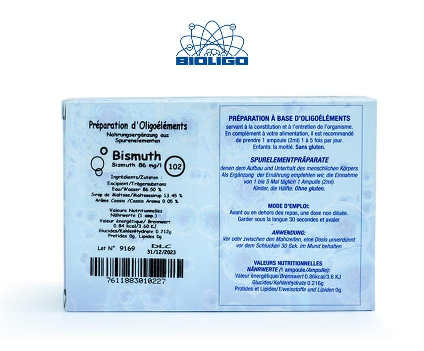Bismuth Oligoéléments Unitaires Étiquettes Ampoules Laboratoires Bioligo