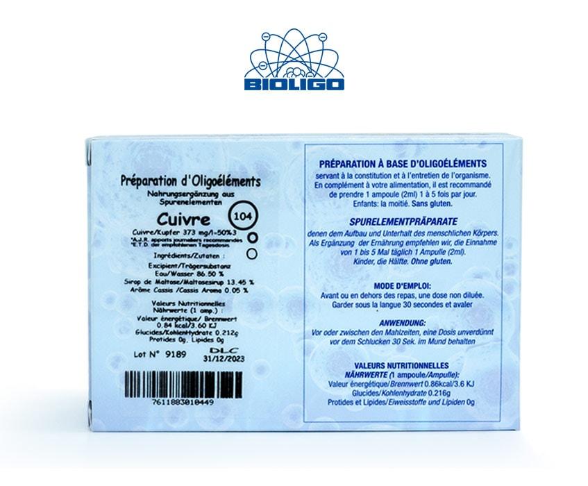 Cuivre Oligoéléments Unitaires Étiquettes Ampoules Laboratoires Bioligo