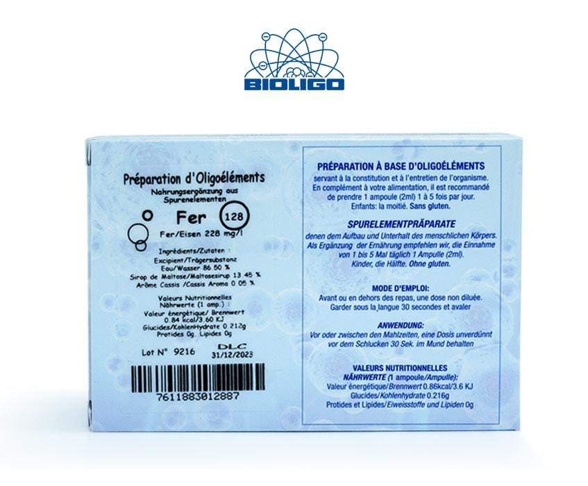 Fer Oligoéléments Unitaires Étiquettes Ampoules Laboratoires Bioligo