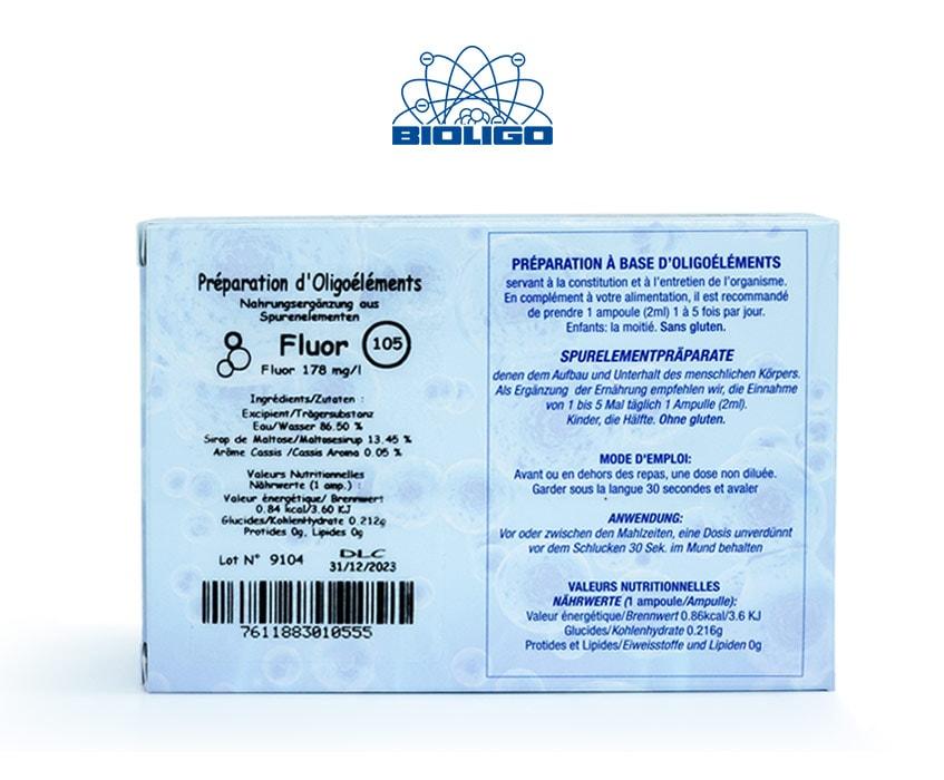 Fluor Oligoéléments Unitaires Étiquettes Ampoules Laboratoires Bioligo