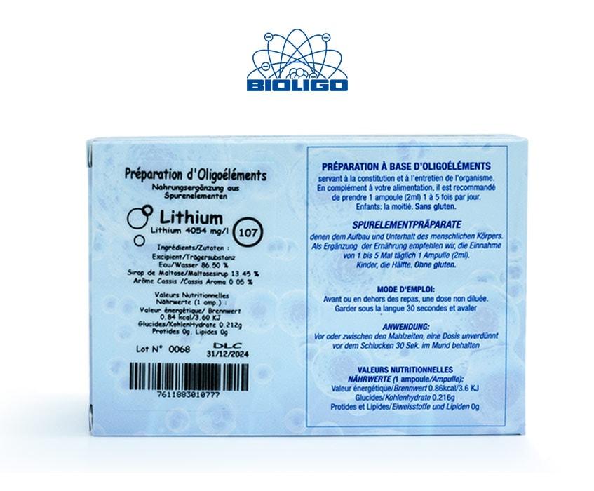 Lithium Oligoéléments Unitaires Étiquettes Ampoules Laboratoires Bioligo