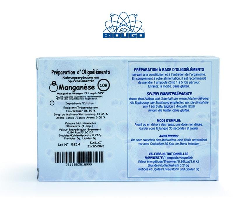 Manganèse Oligoéléments Unitaires Étiquettes Ampoules Laboratoires Bioligo