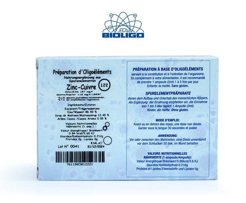 Zinc Cuivre Oligoéléments Unitaires Étiquettes Ampoules Laboratoires Bioligo