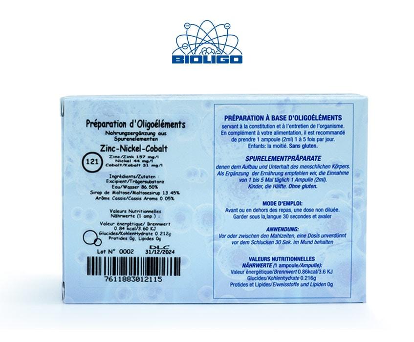 Zinc Nickel Cobalt Oligoéléments Unitaires Étiquettes Ampoules Laboratoires Bioligo