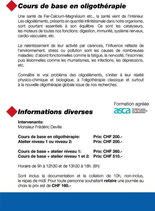 Cours Flyer Oligothérapie 2021-2